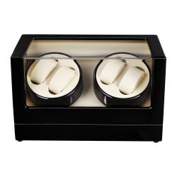 Caja Rotación 4 Relojes Silenciosa Deluxe Negro Beige