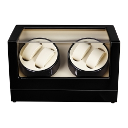 Self Winder box 4 Watches Silent Deluxe Black Beige