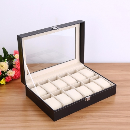 Watch Box 12 Slots Leather Stain