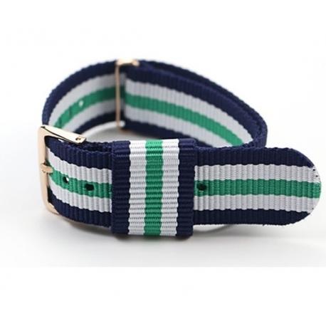 Bracelet montre WELLI Nylon Style Nato 20mm Couleurs au Choix