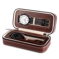 Watches Travel Case 2 Slots leather Zweiler Brown
