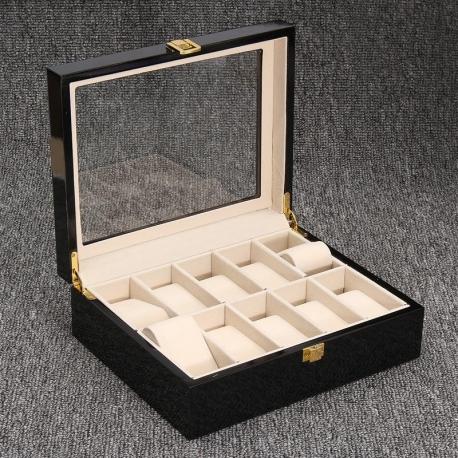 Caja 10 Relojes Madera Burgun Negra