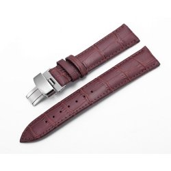 Leather Strap 100% Genuine Butterfly 20mm Dark Brown