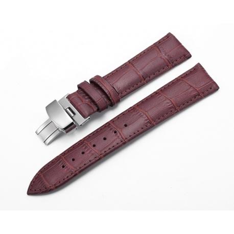 Bracelet montre Papillon 100% cuir Véritable 18mm marron foncé