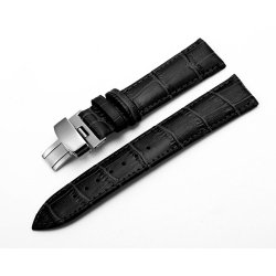 Leather Strap 100% Genuine Butterfly 18mm Black