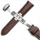 Bracelet montre Papillon 100% cuir Véritable 18mm marron foncé Stitch