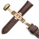 Leather Strap 100% Genuine Butterfly 22mm Dark Brown Stitch