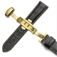 Leather Strap 100% Genuine Butterfly 18mm Black Stitch
