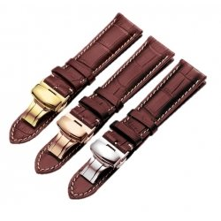 Leather Strap 100% Genuine Butterfly 22mm Dark Brown Stitch