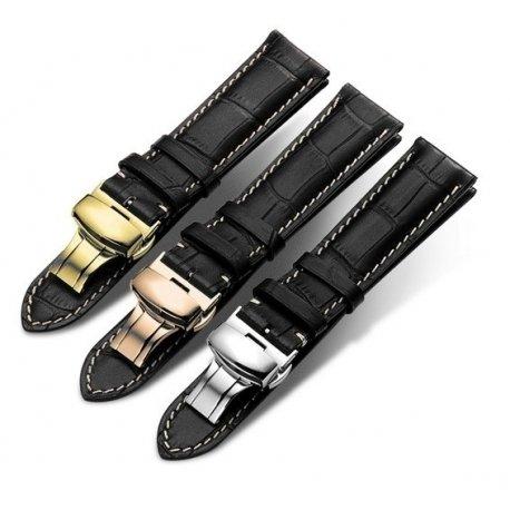 Bracelet montre Papillon 100% cuir Véritable 20mm noir Stitch