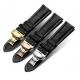 Bracelet montre Papillon 100% cuir Véritable 22mm noir Stitch