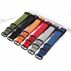 Bracelet montre Nylon Style Nato 20mm Couleurs au Choix PVD