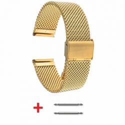 Bracelet Maille Milanaise Fine 22mm Plaqué Or réglable