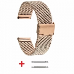 Slim Mesh 18mm Stainless Steel Bracelet Rose Gold Plated adjustable