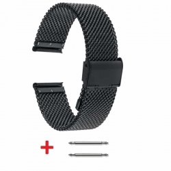 Slim Mesh 18mm Stainless Steel Bracelet Black adjustable