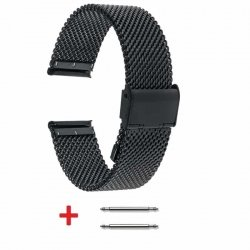 Slim Mesh 20mm Stainless Steel Bracelet Black adjustable