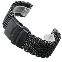 Bracelet Milanaise Noir Maille Shark Mesh 24mm