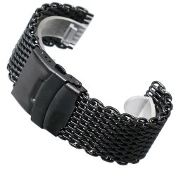 Milanesas Negra Shark Mesh Acero Inoxidable 24mm