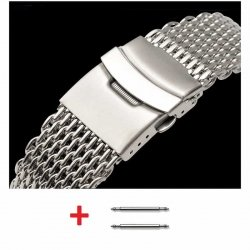 Milanesas Shark Mesh Acero Inoxidable 22mm