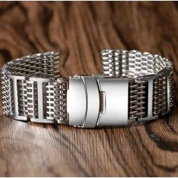 Shark Mesh with links 22mm Stainless Steel Bracelet