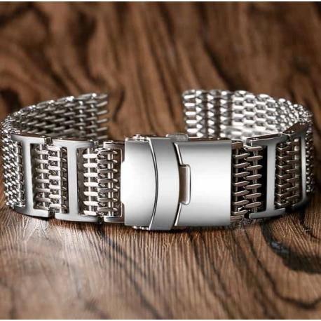Shark Mesh with links 24mm Stainless Steel Bracelet