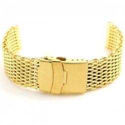 Milanesas Shark Mesh Oro Acero Inoxidable 18mm