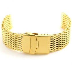 Shark Mesh Gold Plated 22mm Stainless Steel Bracelet