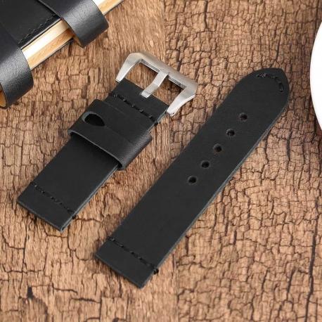 Leather Strap 100% Genuine Vintage MAX Black 22mm 24mm 26mm