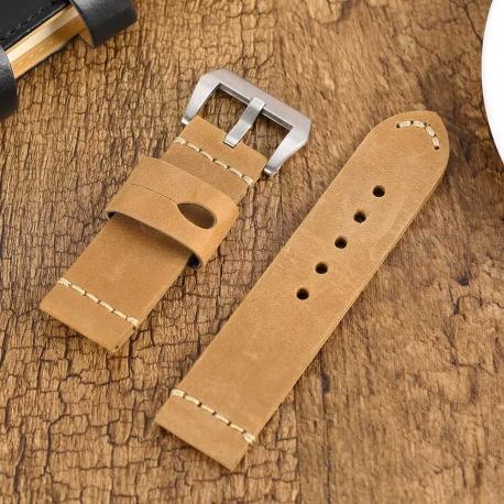 Leather Strap 100% Genuine Vintage MAX Brown 22mm 24mm 26mm