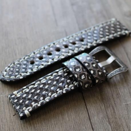 Leather Strap 100% Genuine Python 20mm 22mm 24mm 26mm Dark Brown