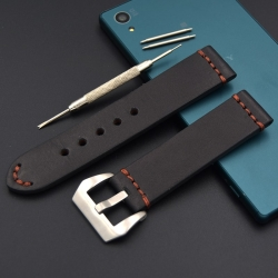 Leather Strap 100% Genuine Buck Black 22mm or 24mm