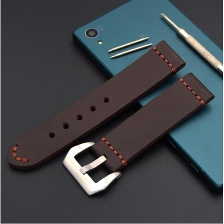 Bracelet montre 100% cuir Véritable Buck 22mm ou 24mm Marron