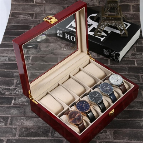 Caja 10 Relojes Madera Piano Zweiler
