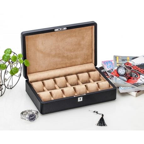 High Quality Watch Box 12 Slots Carbon Fiber Zweiler Habana