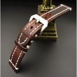 Leather Strap 100% Genuine Craft 18mm 20mm 22mm 24mm Brown