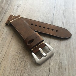 Bracelet montre 100% cuir Véritable chocolat 24mm