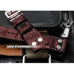 Bracelet montre Aviateur 100% cuir Véritable 22mm marron
