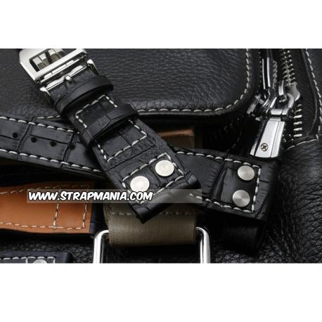 Leather Strap 100% Genuine Aviator 22mm Black