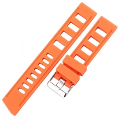 Perforated Silicone Strap orange 20mm or 22mm Vintage