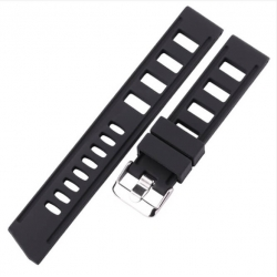 Perforated Silicone Strap Black 20mm or 22mm Vintage.