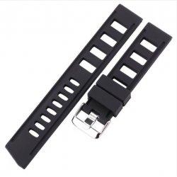 Bracelet Silicone Pérforé 20mm ou 22mm Noir