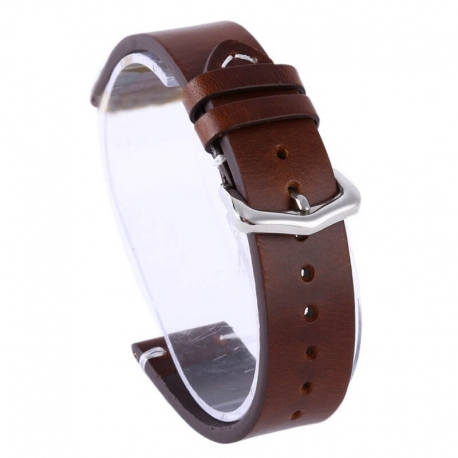Genuine Leather Strap Exius 18mm 20mm 22mm Brown
