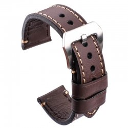 Leather Strap 100% Genuine Ecus 20mm 22mm 24mm Brown