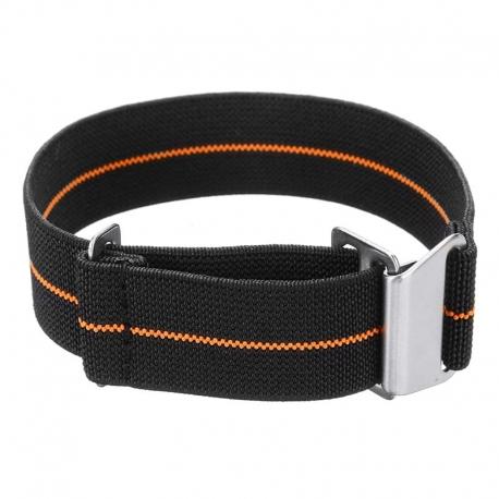 Correa Reloj Nylon Elastica Clip Negra y Naranja