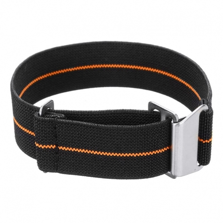 Elastic nylon watch Strap with clip orange and black