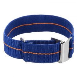 Elastic nylon watch Strap with clip blue and orange