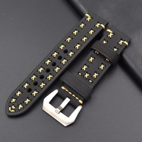 Bracelet montre 100% cuir Véritable Geyne & Beers 20mm Noir