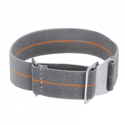 Bracelet montre Nylon Elastique avec clip Gris et orange