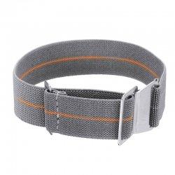 Elastic nylon watch Strap with clip orange and grey