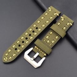 Bracelet montre 100% cuir Véritable Geyne & Beers 20mm 22mm 24mm 26mm Vert